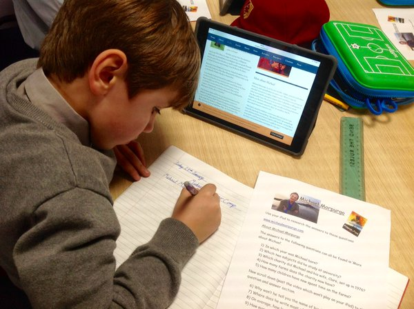 iPads in use in a classroom at  Moulsford Preparatory School