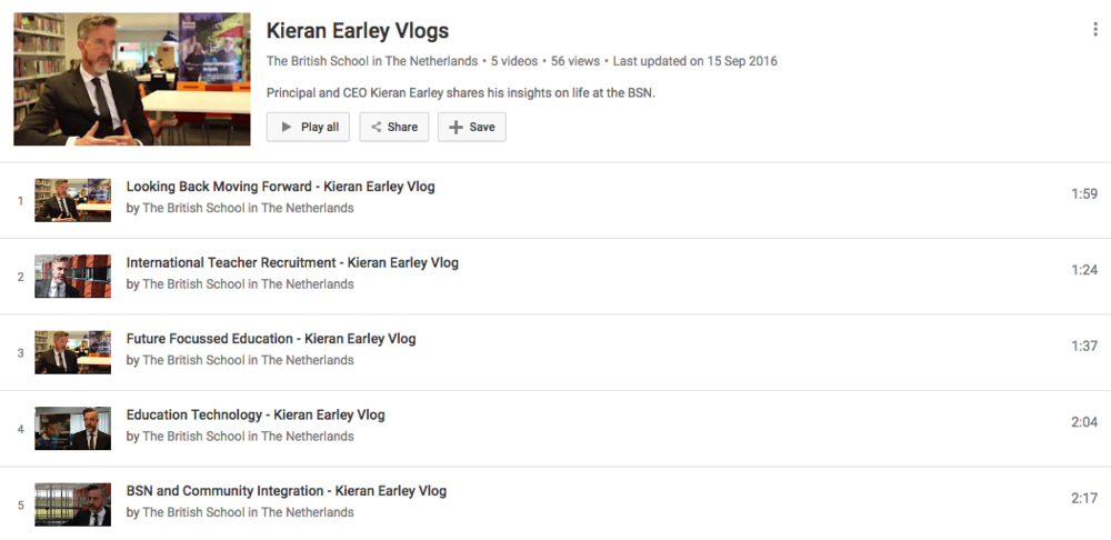 The British School in The Netherlands have a  vlog playlist  for their CEO/Principal,  @Kieran_Earley