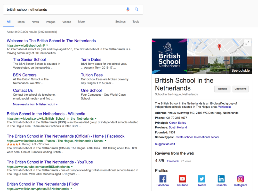 "Notice the information being displayed on the right - this is called the ""Knowledge Panel"". With effective SEO this will populate with useful information for the end user!"