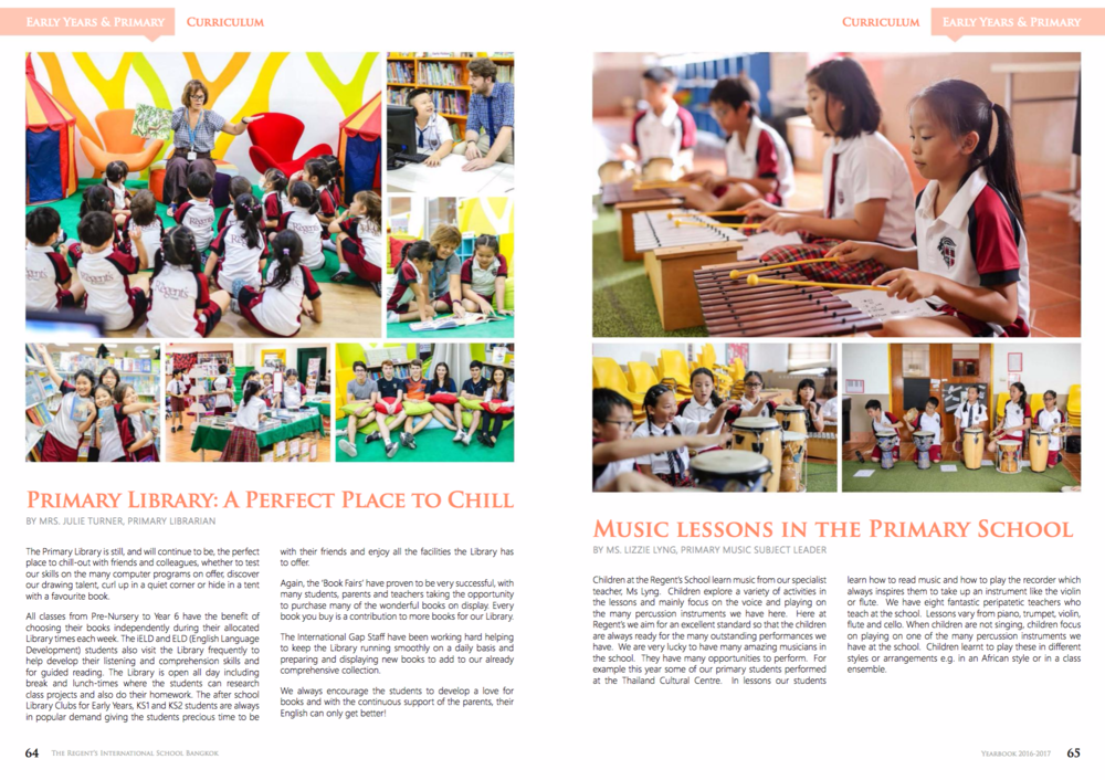 Example page from The Regent's International School, Bangkok's yearbook. Imagine each picture having an interactive element, linking to a webpage or video 👍