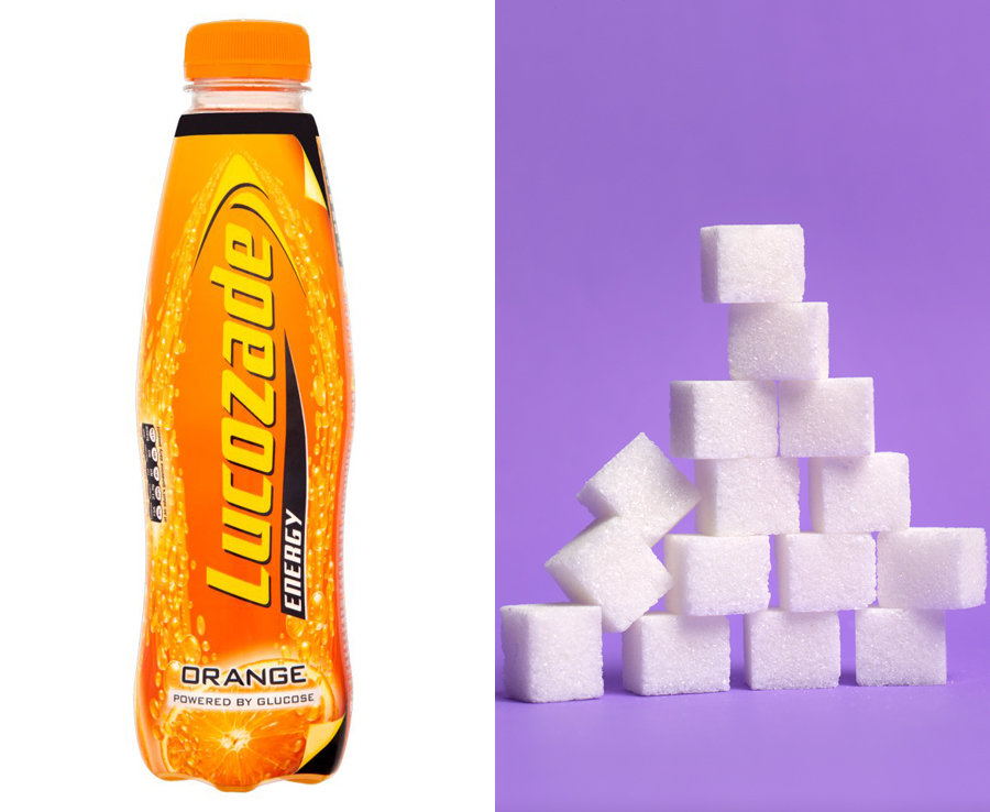 500ml of Lucozade has over 15 teaspoons of sugar