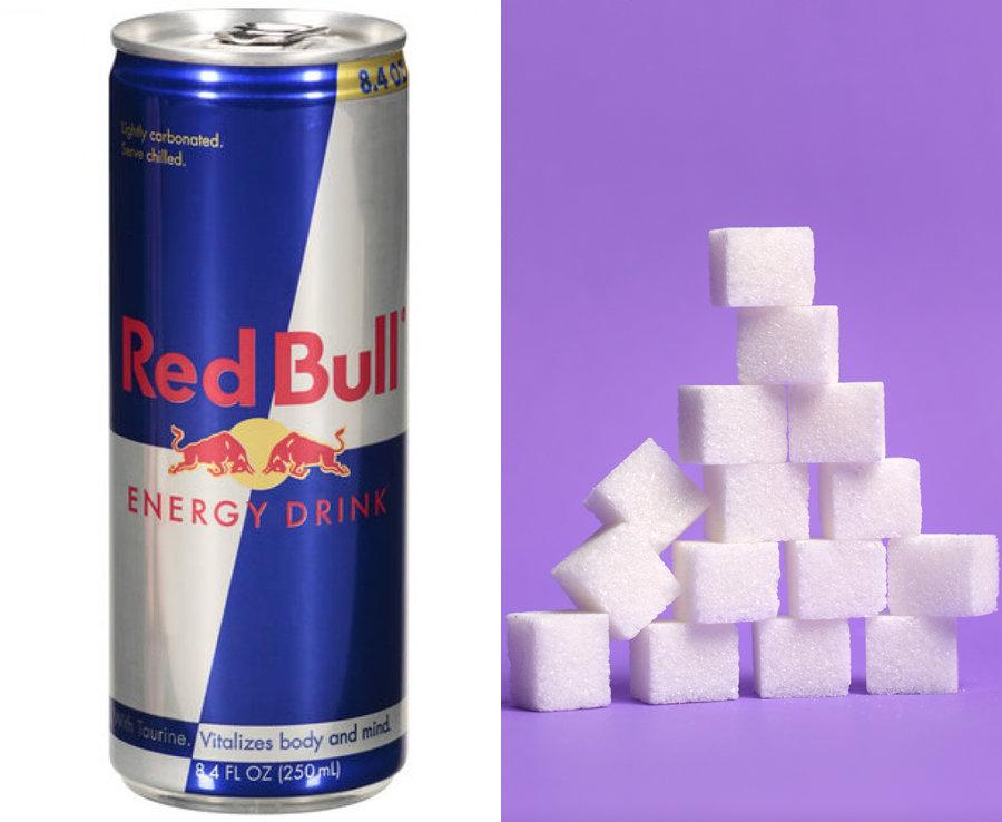 500ml of Redbull has over 14 teaspoons of sugar