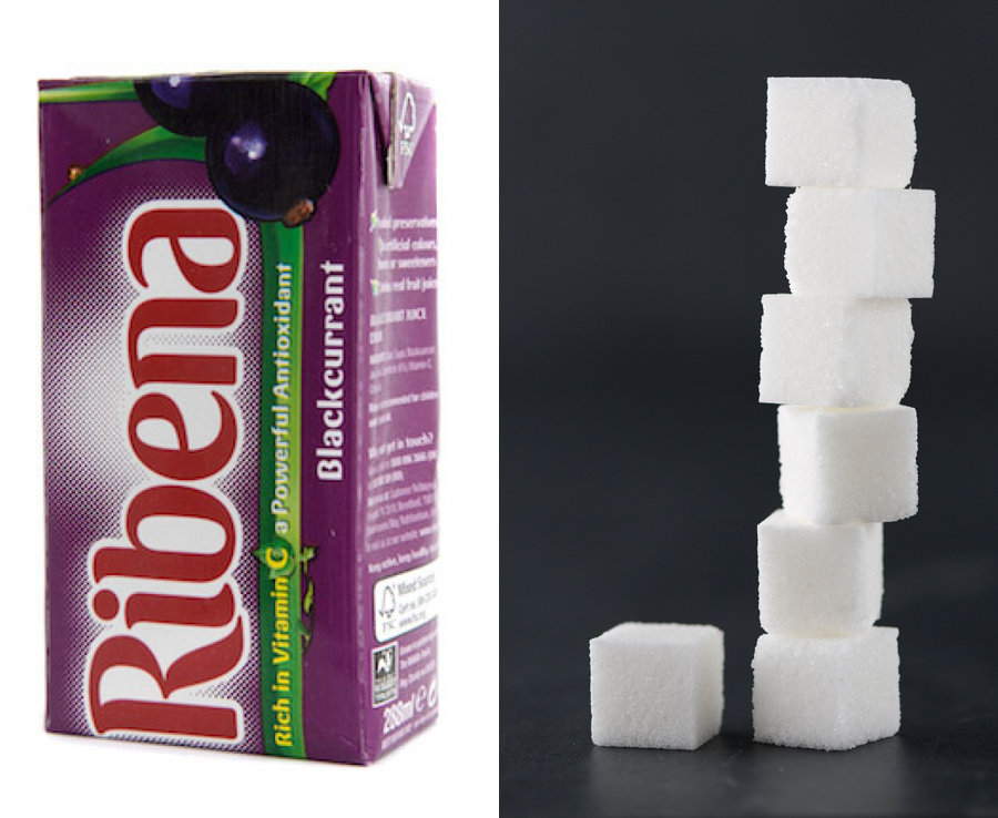 288ml of Ribena has over 7 teaspoons of sugar