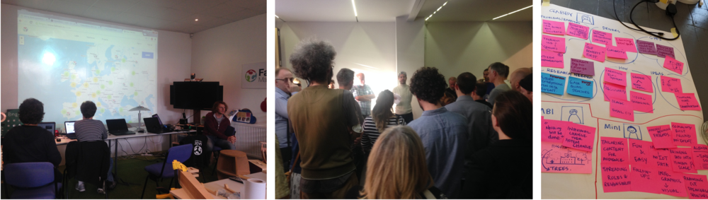 Community groups; Fablab(left) and Madlab(mid). Insights captured from interviews (right)
