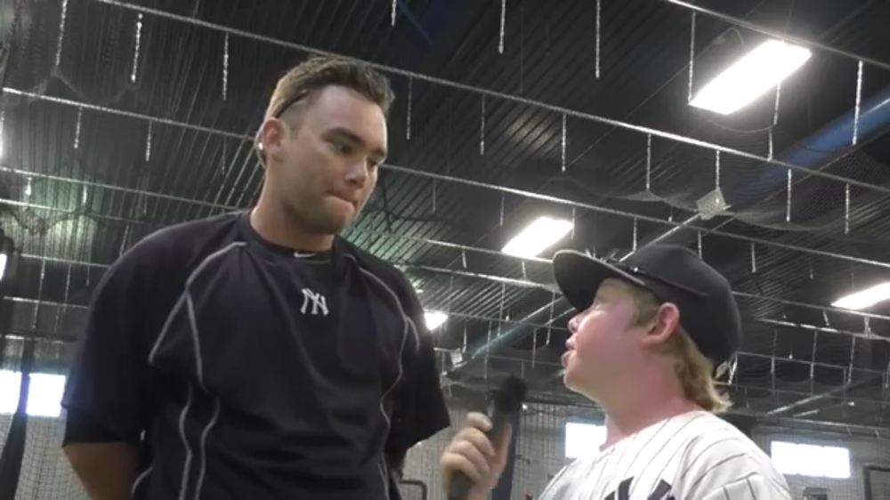 Interviewing Yankees Prospect Dante Bichette Jr. at the Yankees Minor League Complex.