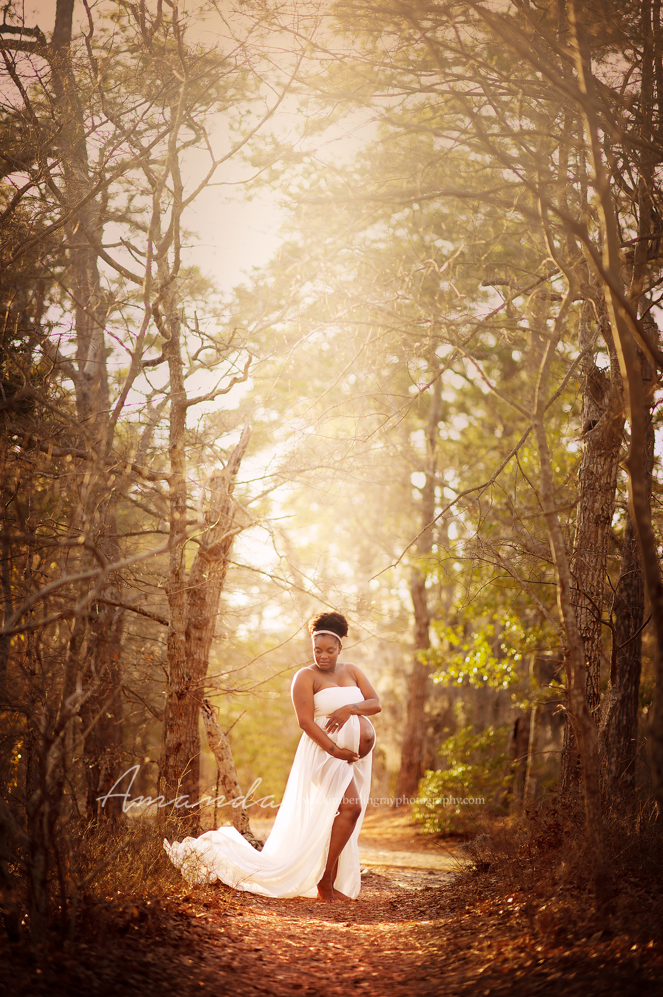 beautiful maternity gown portrait in the woods