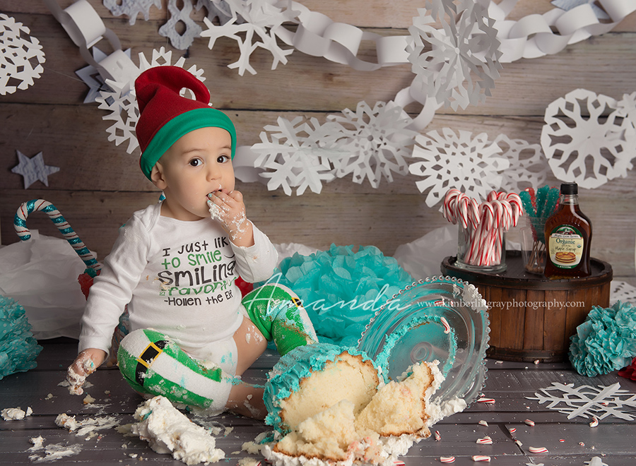 elf christmas snowflake theme cake smash