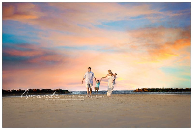 Family on Beach | Gorgeous Beach Sky Family Portrait | Virginia Beach Family Photography