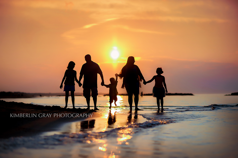 Sunset Family Virginia Beach Silhouette