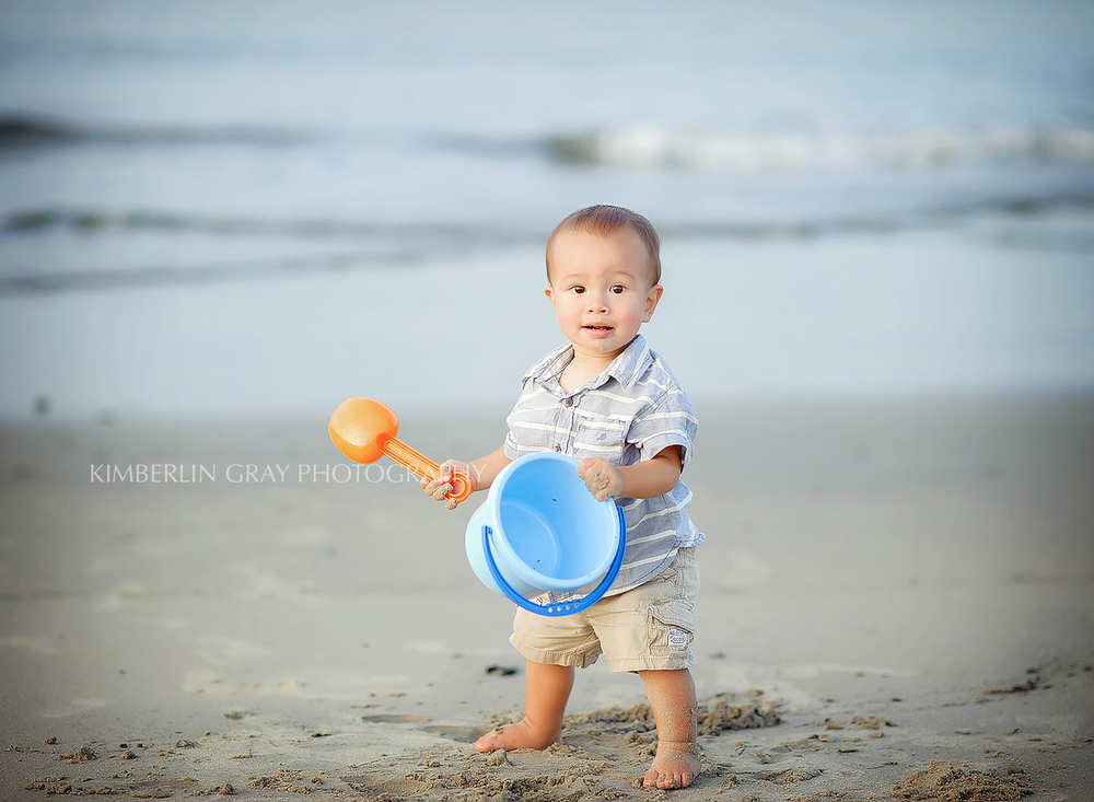 Beach baby playing in the sand Virginia Beach Photographer