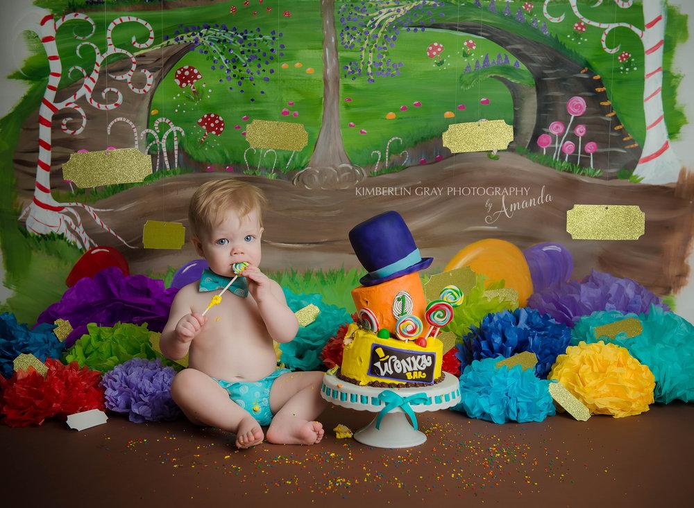 Willy Wonka Themed Birthday Cake Smash Photographer