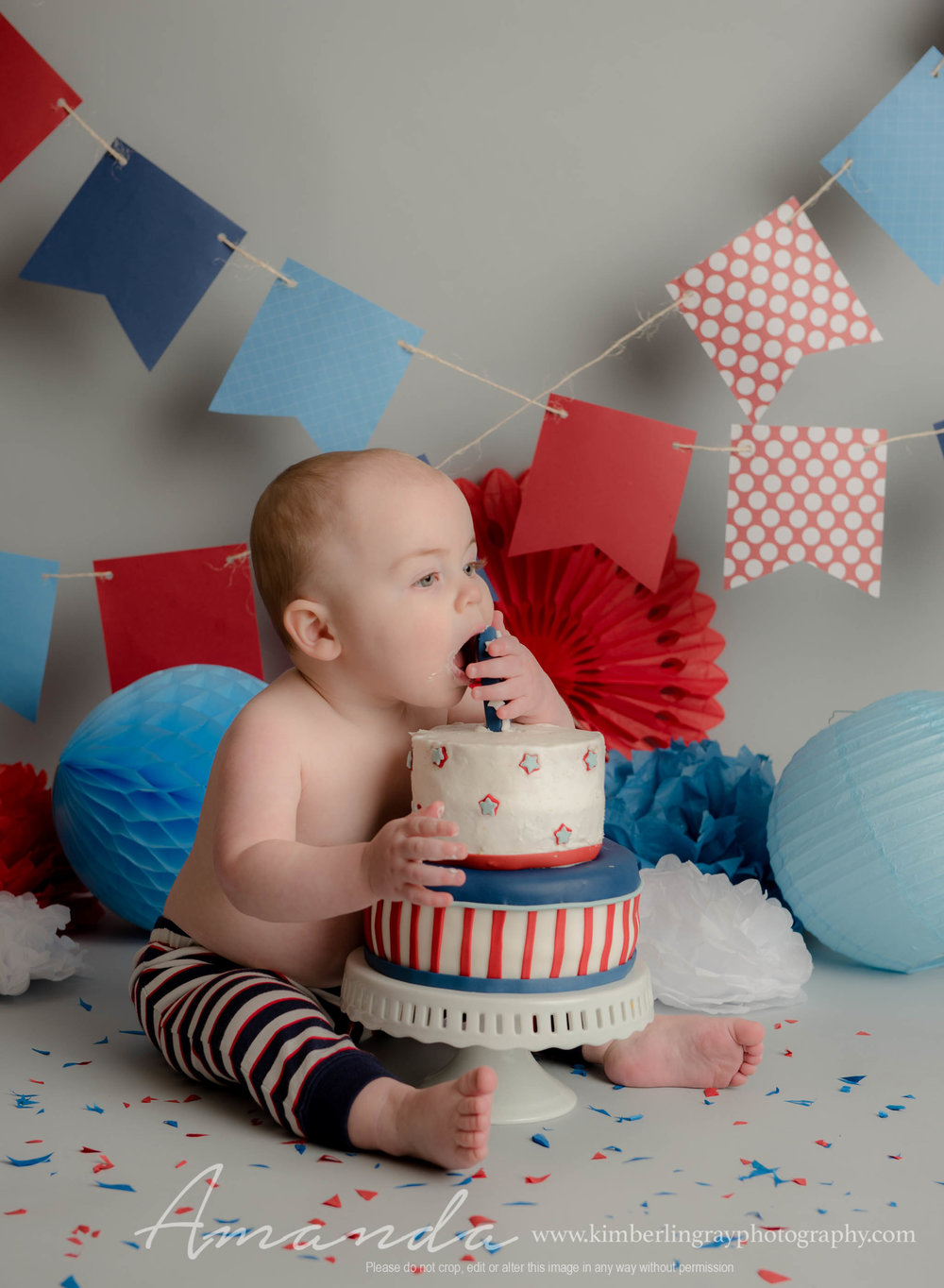 Red White and Blue Cake Smash 4th of July