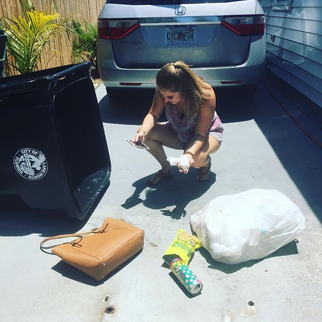 Oh my goodness I just witnessed the funniest thing in a long time. My cousin Caitlyn just threw her phone away in the trash and had to dive in a pool of dirty trash water to get it back!!! Bahaha #watchwhatyouaredoing #memories #goodtimes