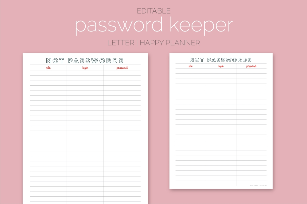 Password Keeper Freebie | Rourke Planners