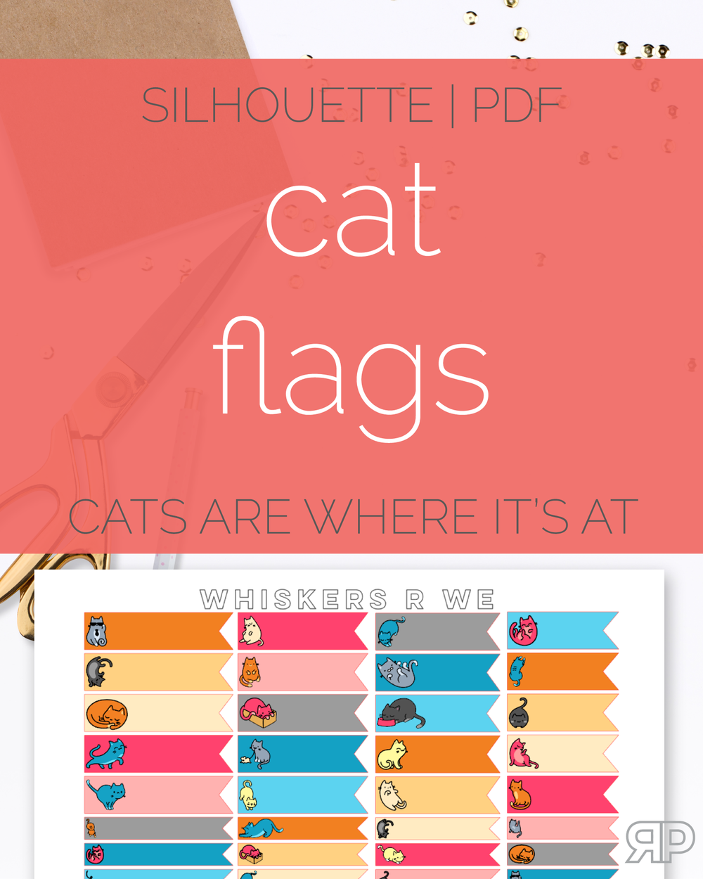 Paw-sitively Adorable Cat Flag Stickers | Rourke Planners