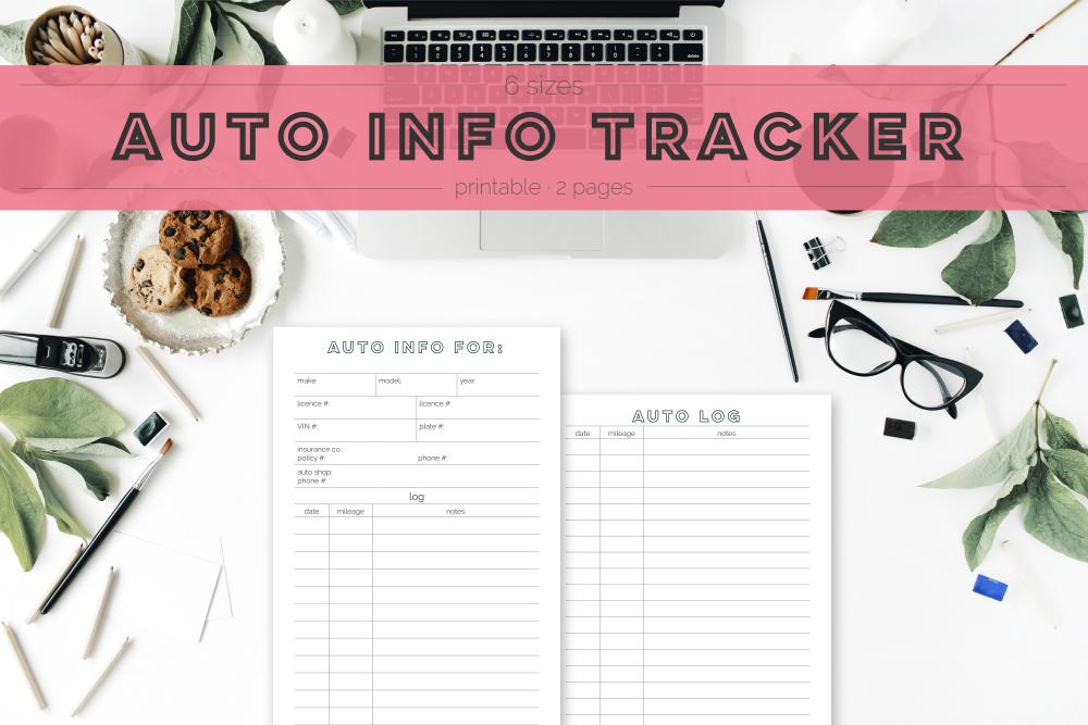 Auto Info Tracker Freebie | Rourke Planners