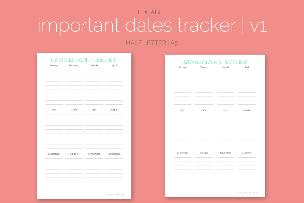 Important Dates Trackers Freebie | Rourke Planners