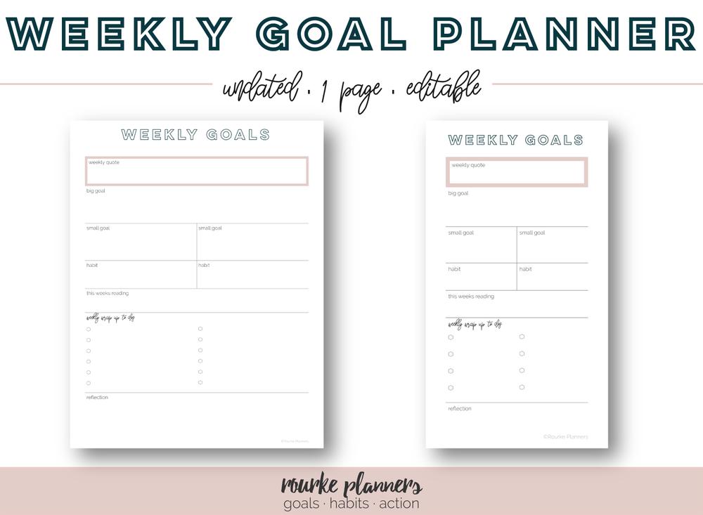Weekly Goal Planner | Rourke Planners
