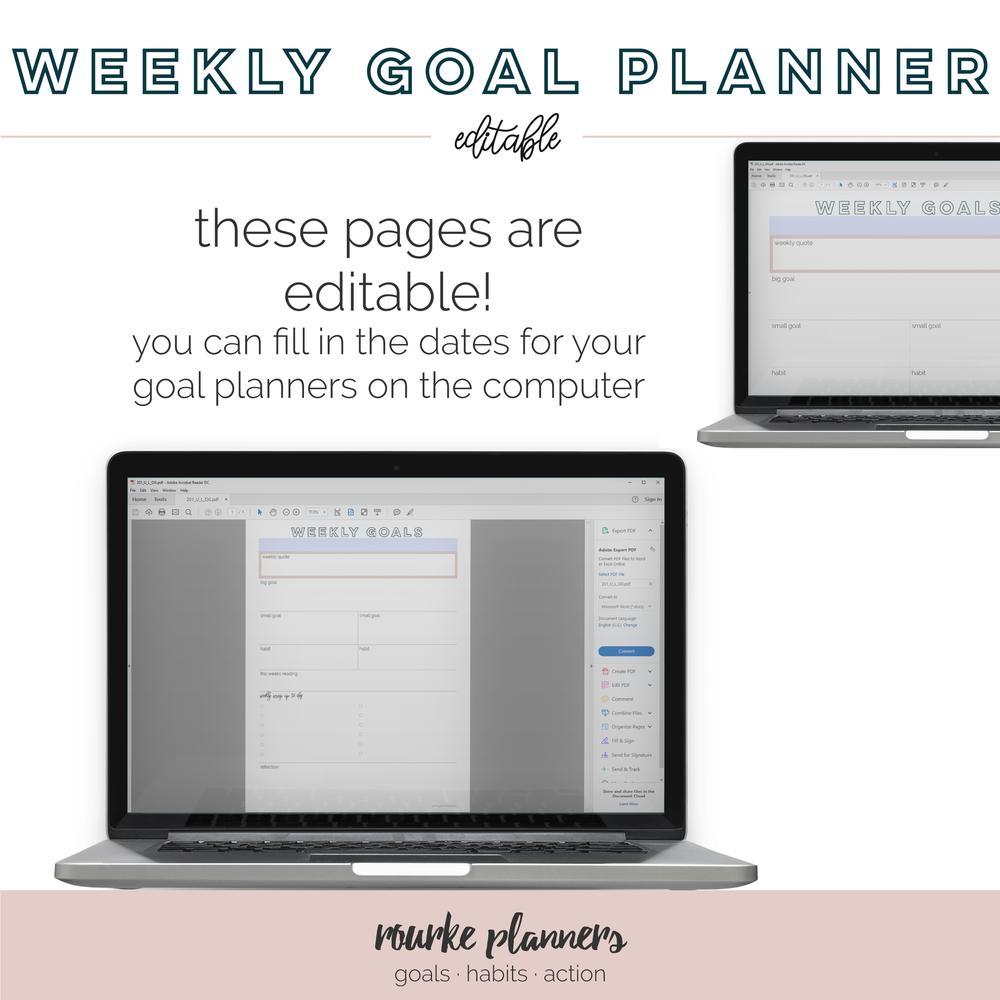 Weekly Goal Planner Free Printable | Rourke Planners