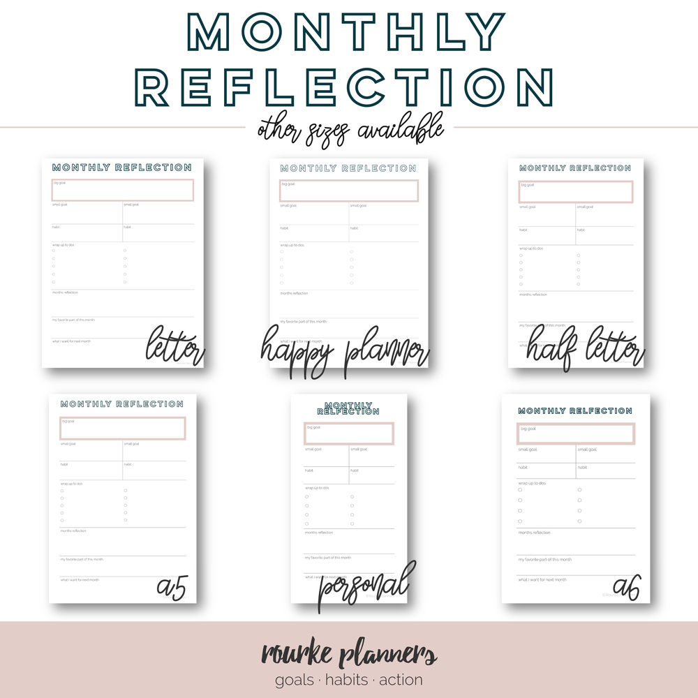 Monthly Reflection Free Printable | Rourke Planners