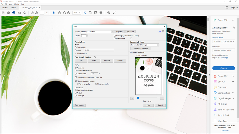 How to Print A5 Size Pages on Windows | Rourke Planners