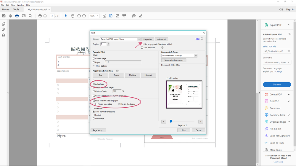 How to Print A6 Size Pages in Windows | Rourke Planners