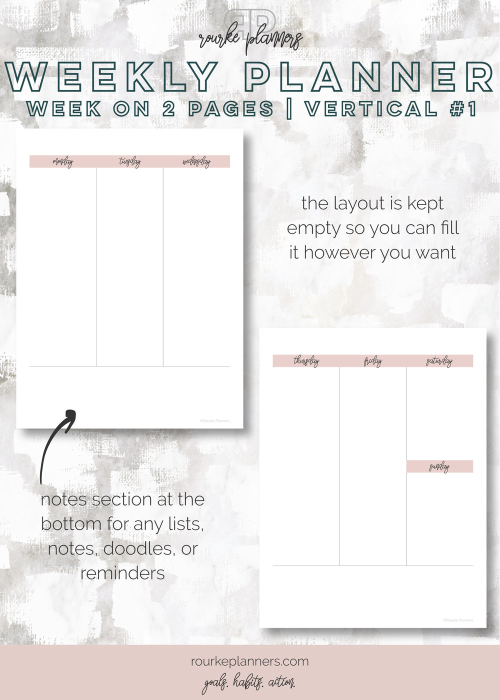 Weekly Vertical Planner #1 | Happy Planner Size, OG Style, Undated | Rourke Planners
