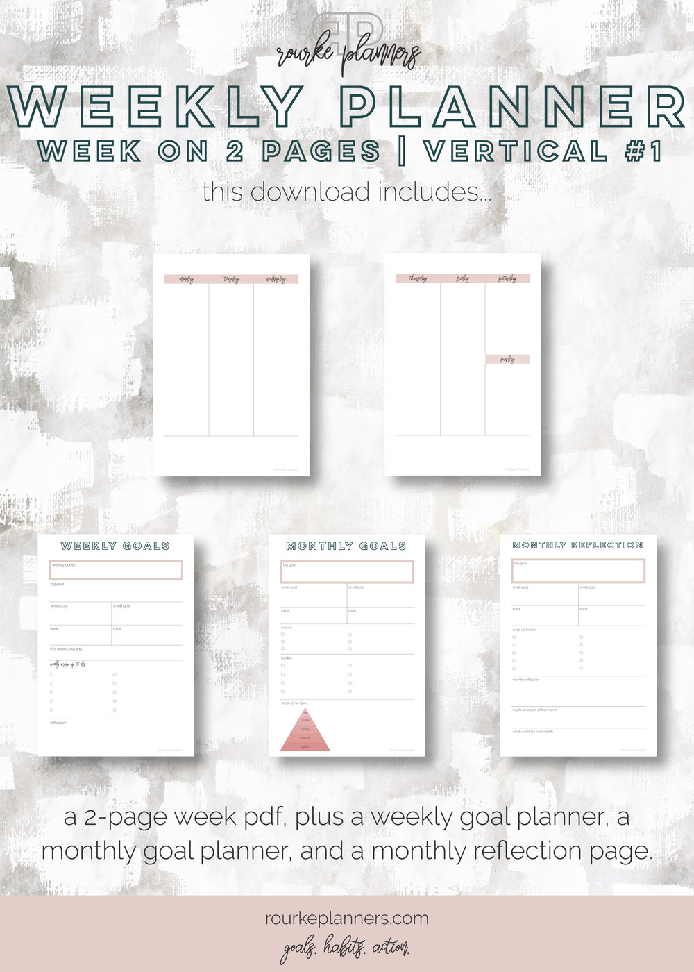 Weekly Vertical Planner #1 | A5 Size, OG Style, Undated | Rourke Planners