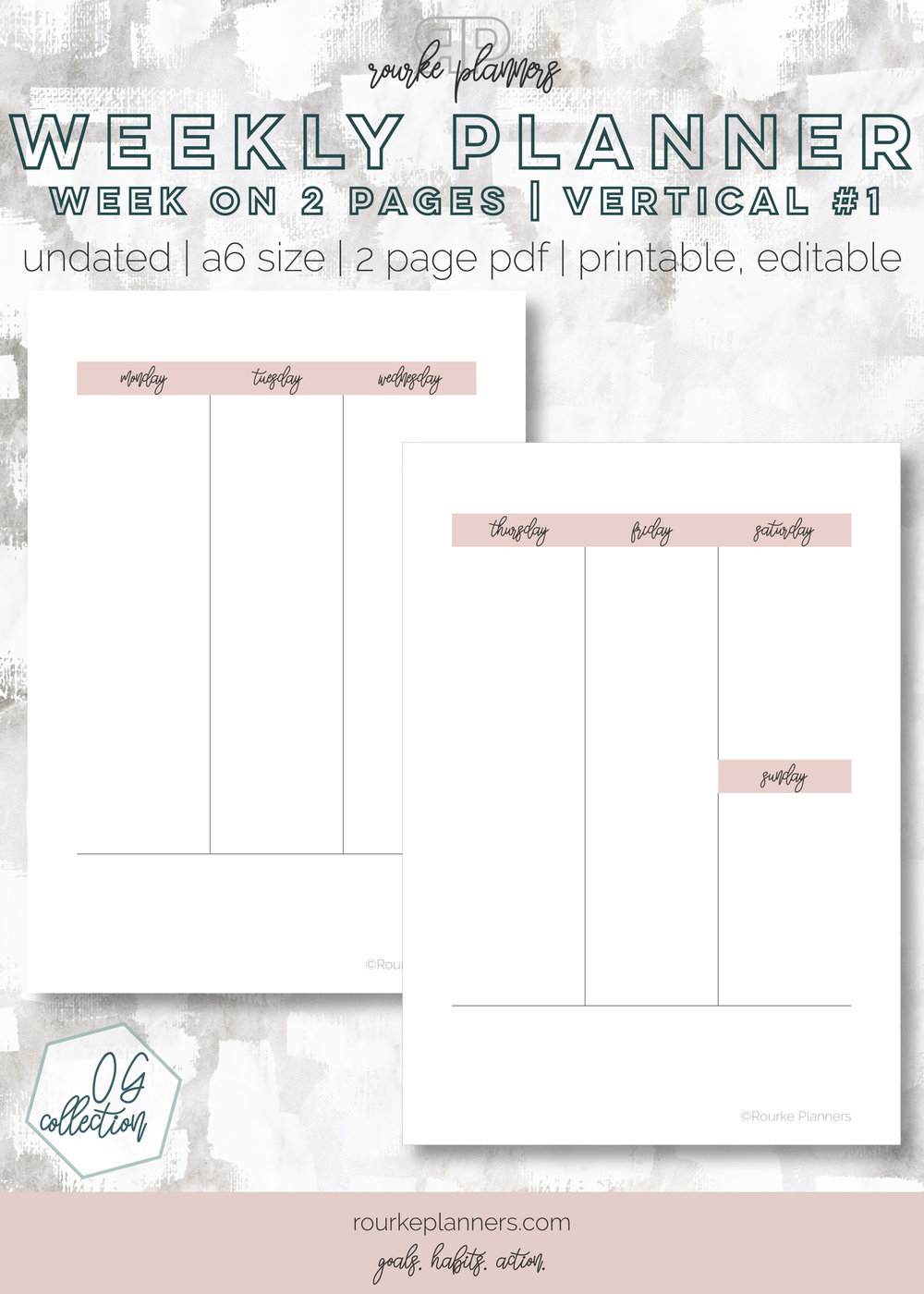 Weekly Vertical Planner #1   A6 Size, OG Style, Undated   Rourke Planners