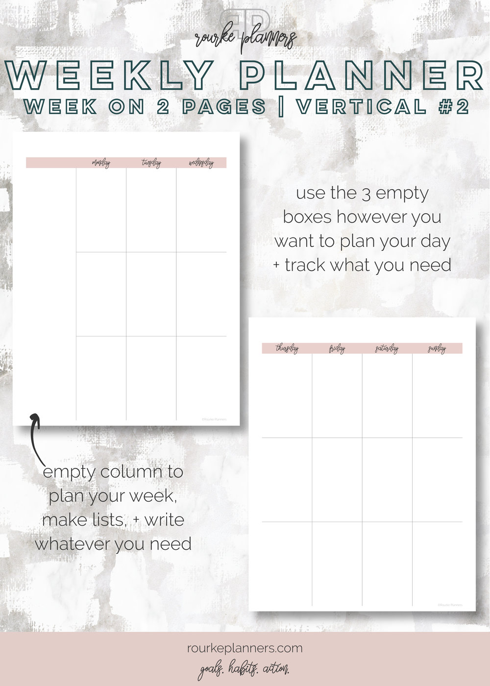 Weekly Vertical Planner #2 | Letter Size, OG Style, Undated | Rourke Planners