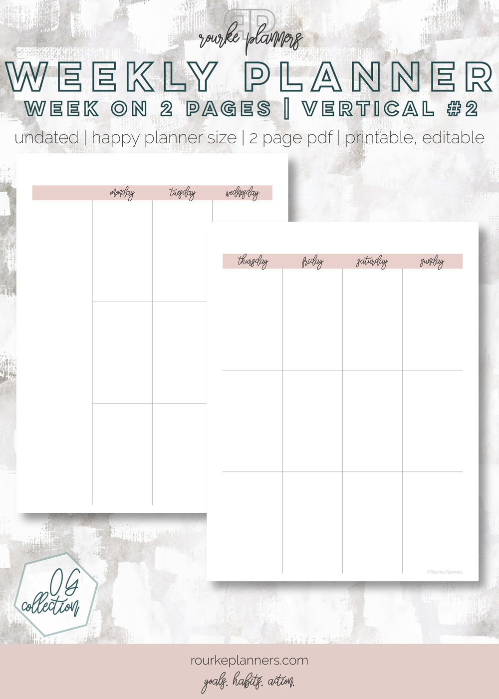 Weekly Vertical Planner #2 | Happy Planner Size, OG Style, Undated | Rourke Planners