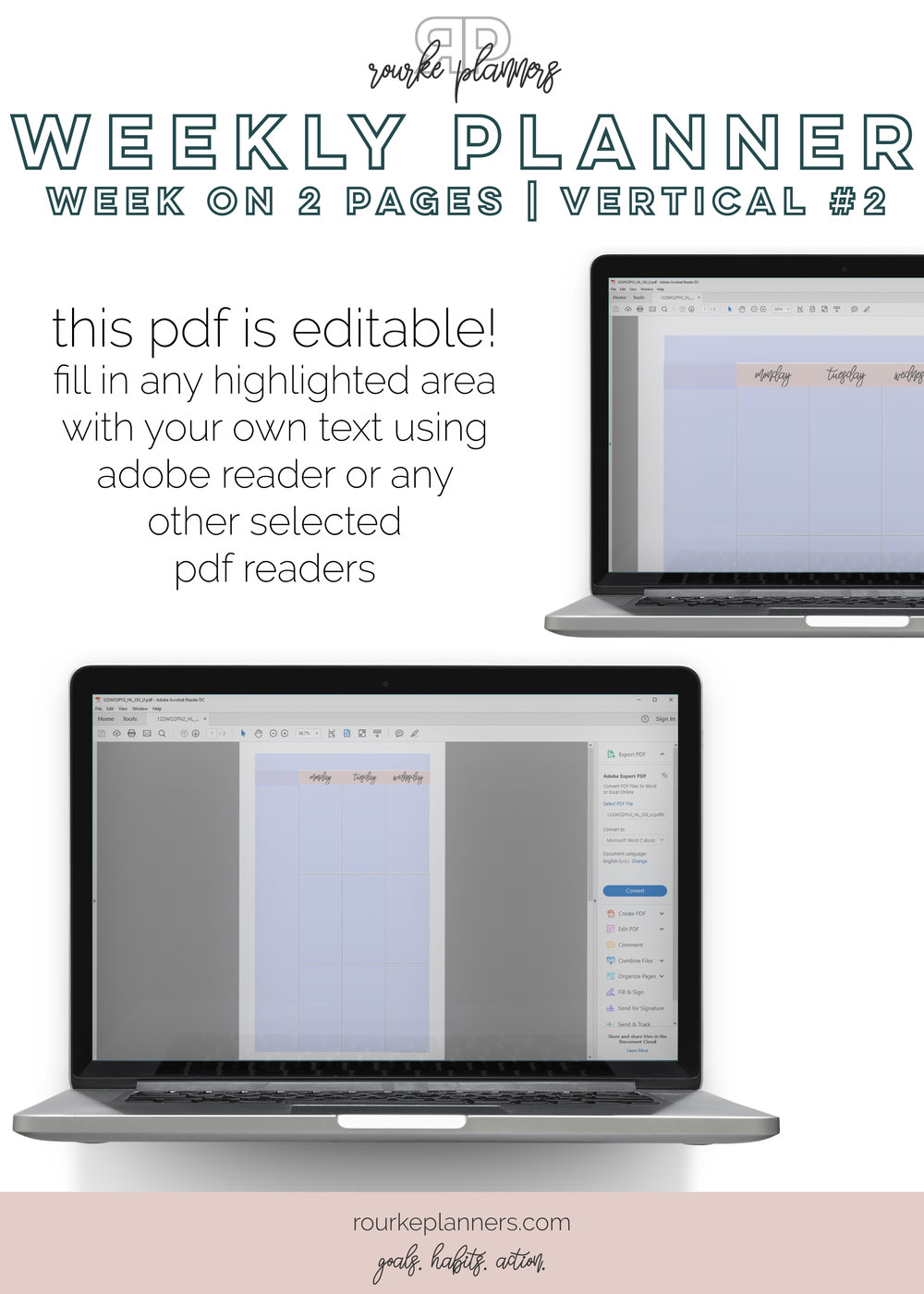 Weekly Vertical Planner #2 | Half Letter Size, OG Style, Undated | Rourke Planners