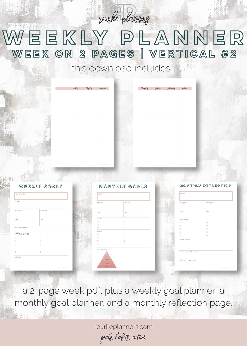 Weekly Vertical Planner #2 | A5 Size, OG Style, Undated | Rourke Planners