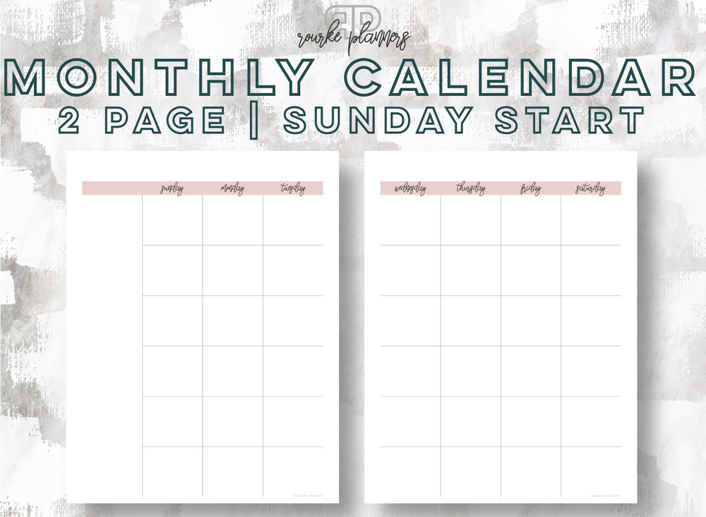 2-Page Monthly Calendar, Sunday Start | Rourke Planners