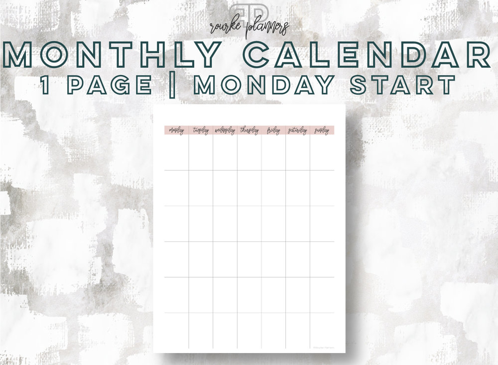 1-Page Monthly Calendar, Monday Start | Rourke Planners