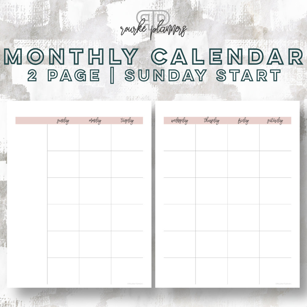 2 Page Monthly Calendar, Sunday Start | Rourke Planners