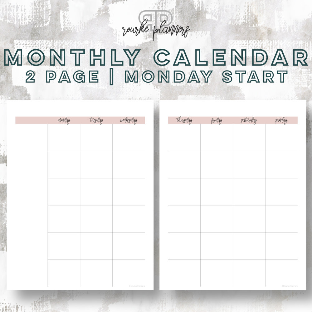 2 Page Monthly Calendar, Monday Start | Rourke Planners