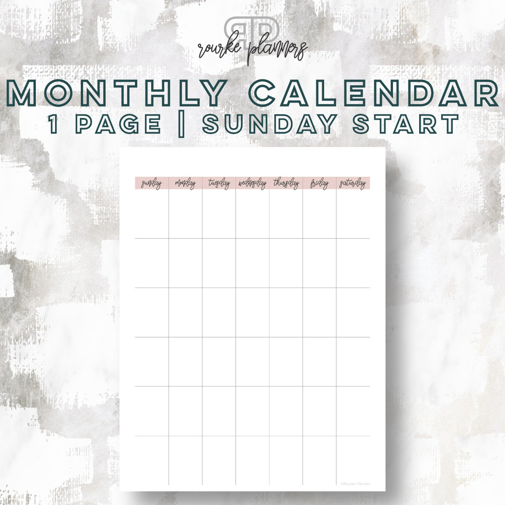 1 Page Monthly Calendar, Sunday Start | Rourke Planners