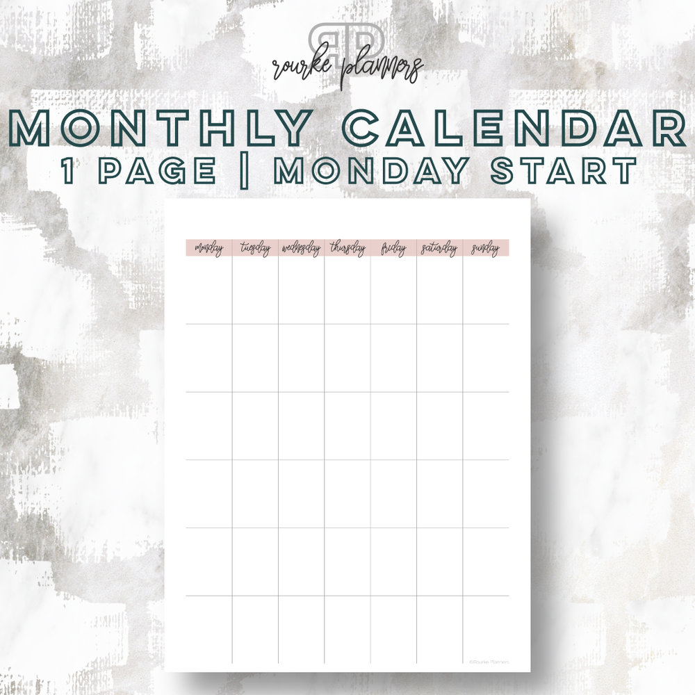 1 Page Monthly Calendar, Monday Start | Rourke Planners