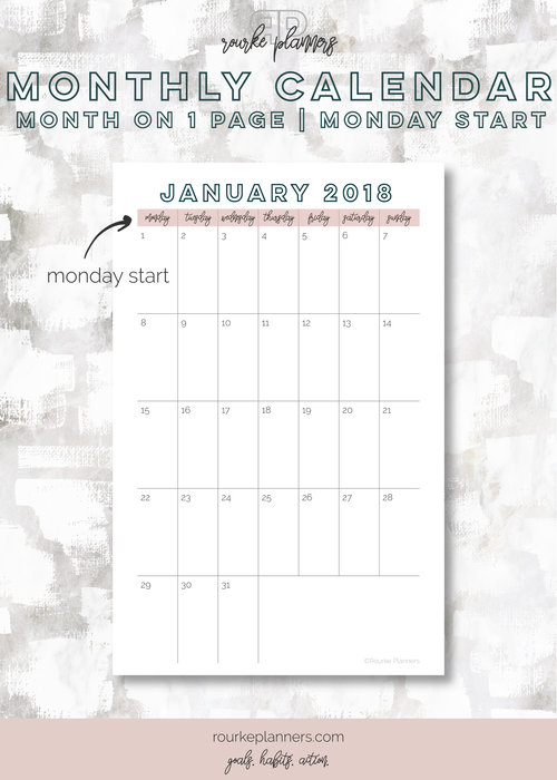 1 Page Monthly Calendar Monday Start Rourke Planners