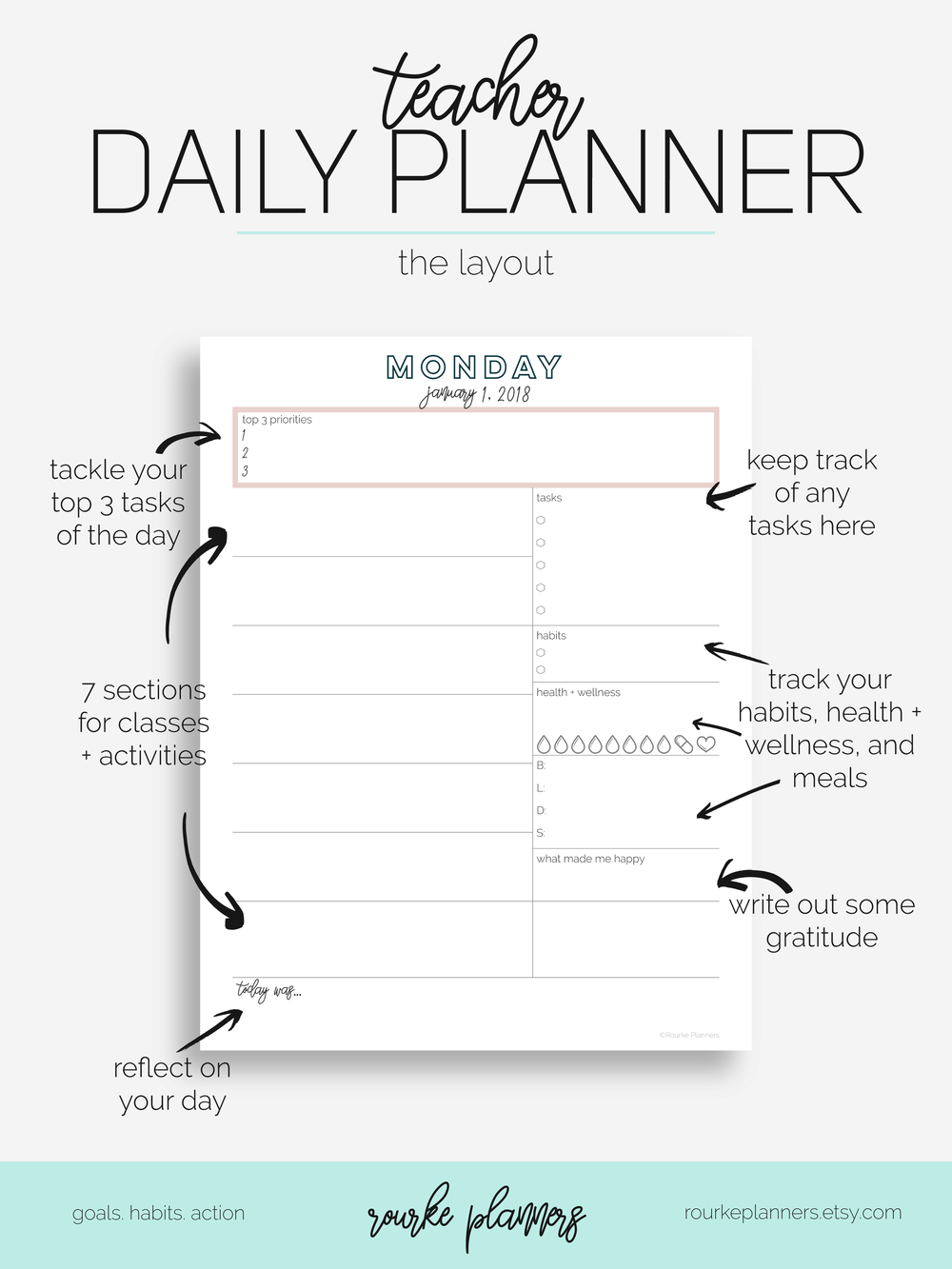 teacher daily planner / letter size / 2018 / eowyn collection // rourke planners