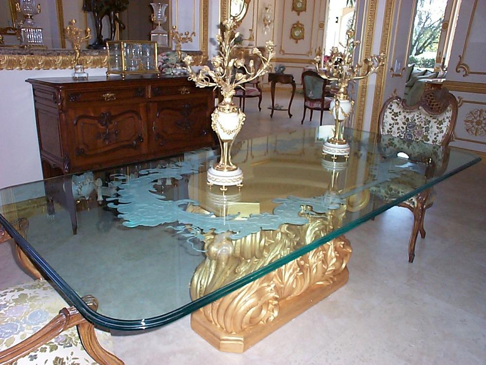 Table Tops Carved Glass Unique Glass Art Jupiter