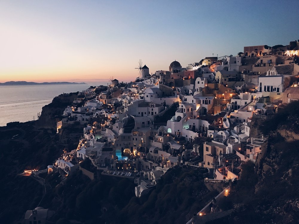 A cliffside view of Oia
