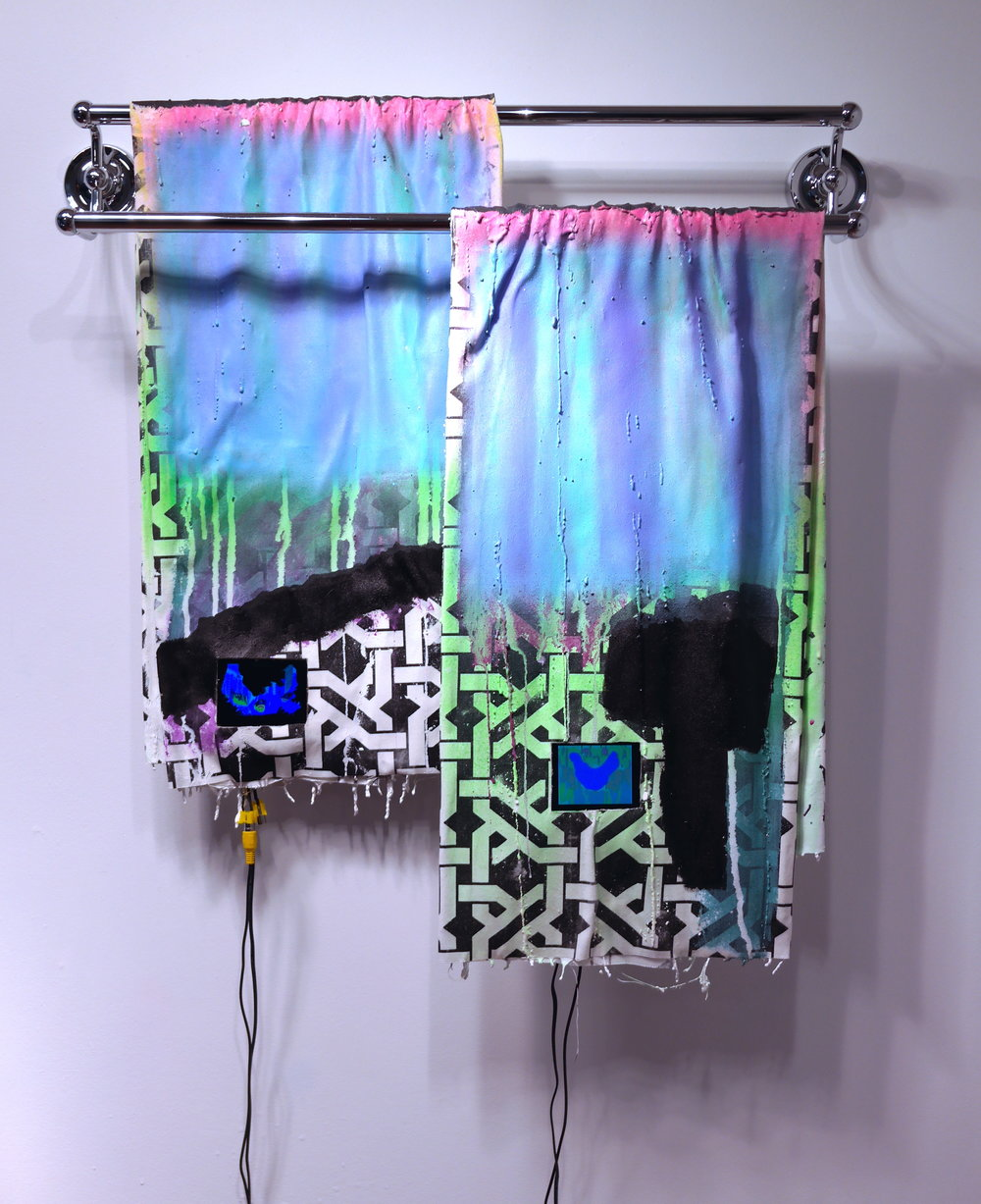 "+Arousal -Delight, 2015, 29""x25"" acrylic, plaster, metal, monitors, animation, media players on fabric."