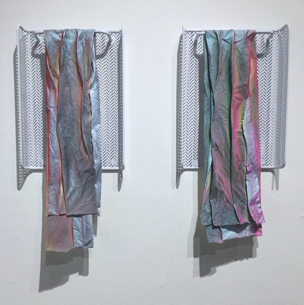 "Clone±Swab, 2015, 36""x24"" acrylic, fabric, metal."