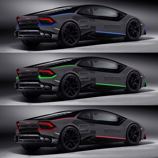 Which accent color for this Huracan wrap? 🤔 — renderings by @monacoautodesign — #Lamborghini #Huracan #Performante #Aventador #monacoautodesign