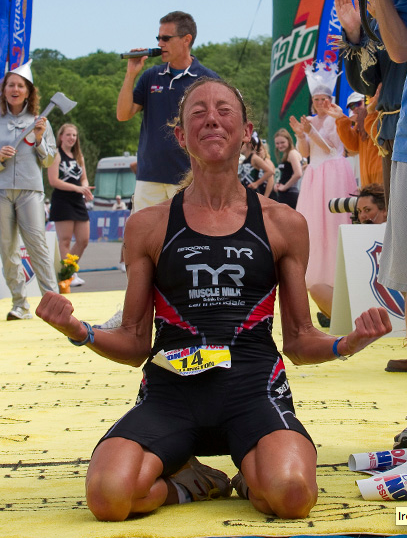 The Legendary Chrissie Wellington in my favorite finish photo of all time.