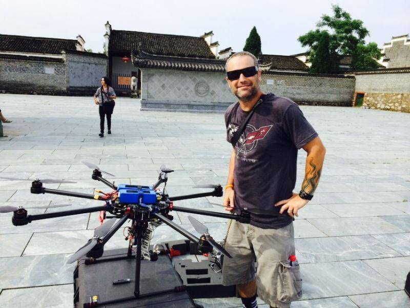 Marion on location in China directing a drone shoot.