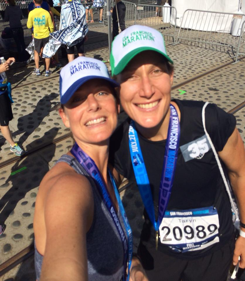 Sarah and I celebrating my 35th marathon finish at the San Francisco marathon in 2014.
