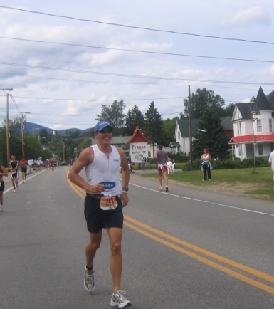 Peter crushing the run at Ironman lake Placid, 2004.